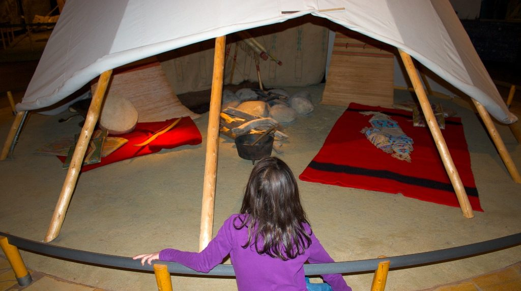 Plains Indian Museum interpretation of tipi lodging