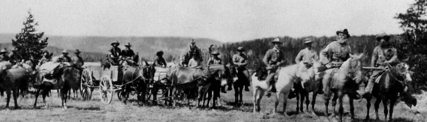 Superintendent P.W. Norris with the first wagon into the Upper Geyser Basin, 1878. NPS photo.