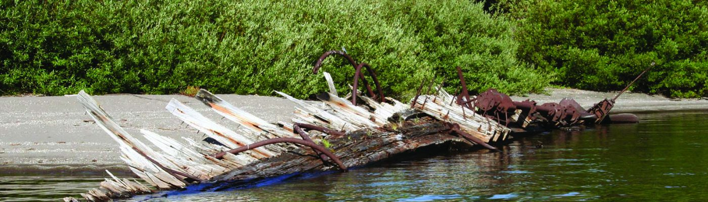 "Today, a twisted skeleton beached on Stevenson Island is all that remains of the ""E.C. Waters"""