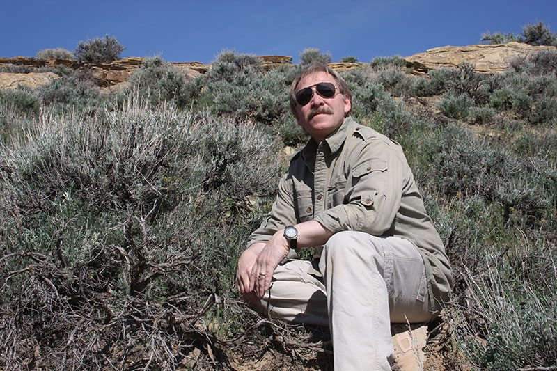 Dr. Charles R. Preston in the sagebrush-steppe of the Bighorn Basin.
