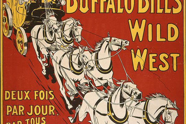 Buffalo Bill's Wild West poster featuring the Deadwood Stagecoach, Weiners Litho Co., 1905, Buffalo Bill Museum Purchase, Mary Jester Allen Fund. 1.69.6022