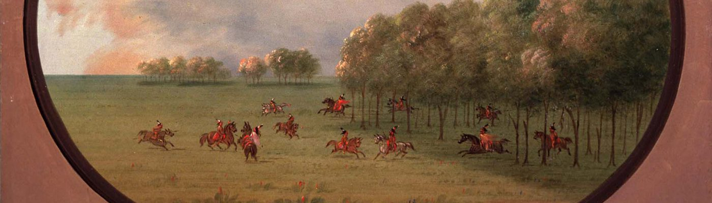 """George Catlin (1796-1872). """"An 'Oak Opening', Mouth of the Platte, with a party of Indians playing on horseback,"""" ca. 1855-1870. Oil on paperboard. Gift of Paul Mellon. 29.86"""
