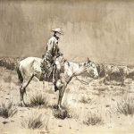 "Frederic Remington's ""Riding Herd in the Rain,"" ca. 1897. 1.63"