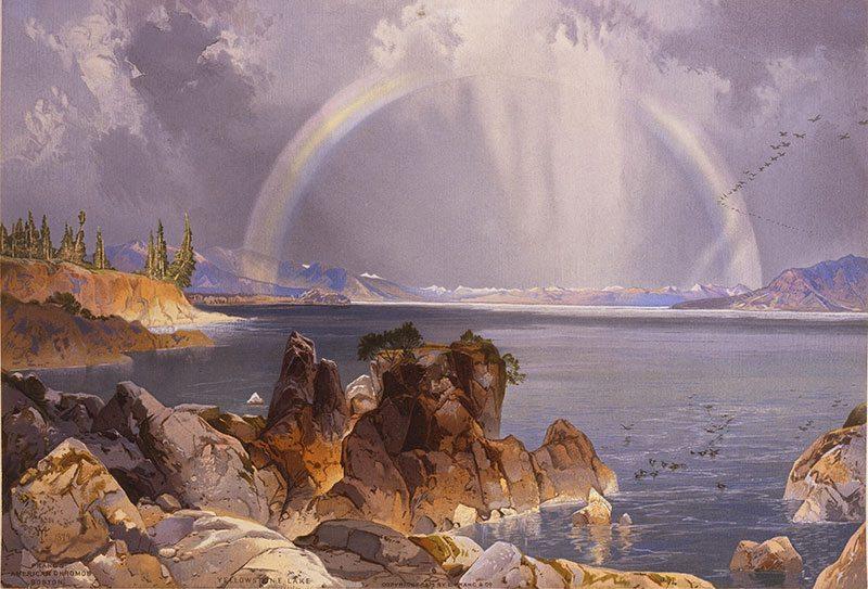 """Yellowstone in art: Thomas Moran's """"Yellowstone Lake,"""" ca. 1875. 18.71.5"""