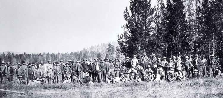 The exploration party of Hayden's Geological Survey of the Territories, Firehole Basin, Yellowstone, 1872. NPS.14829