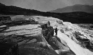 William Henry Jackson photograph of Mammoth Hot Springs. NPS 09581