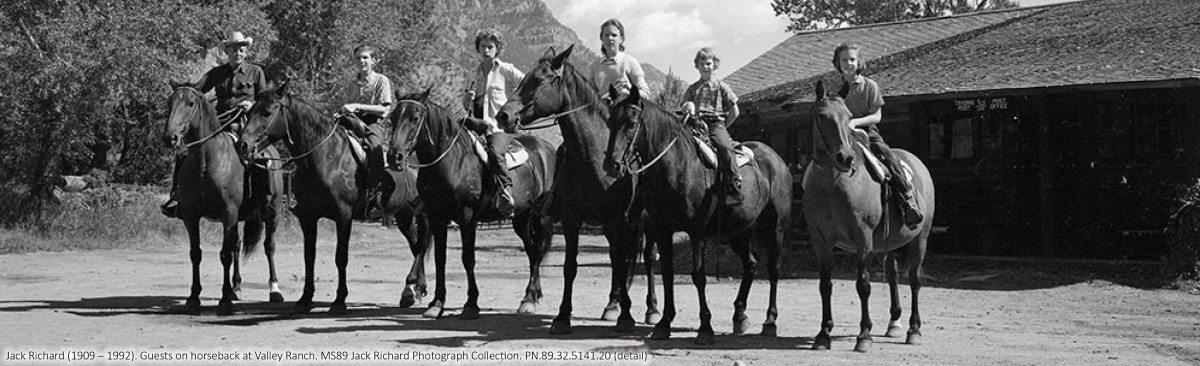 Jack Richard photo, guests on horseback at Valley Ranch. PN.89.32.5141.20