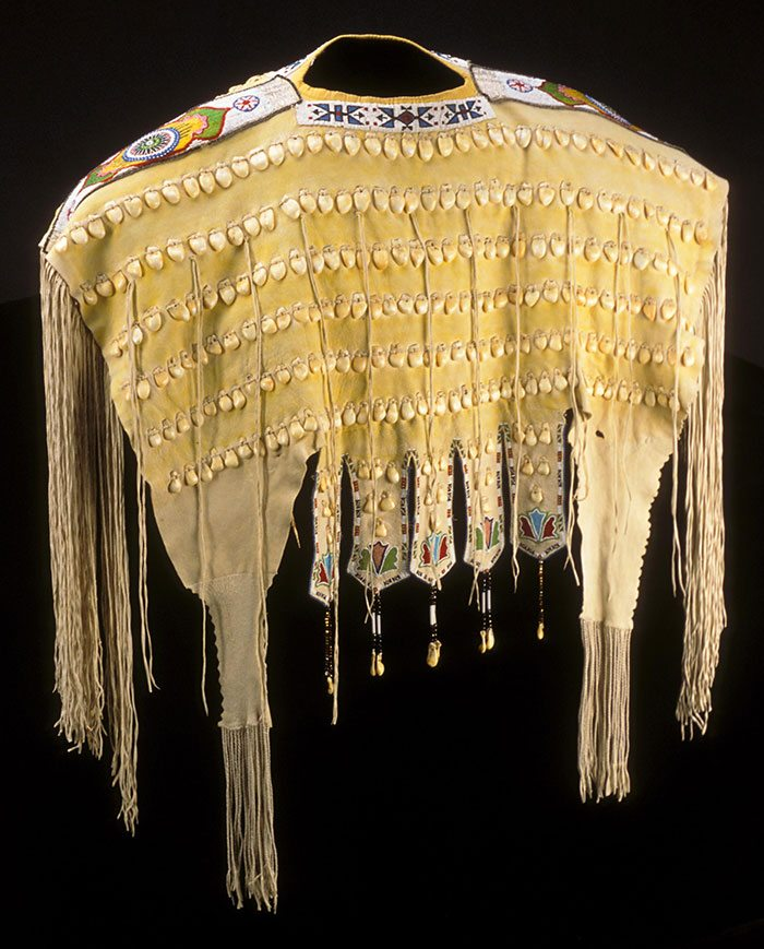 Kiowa woman's yoke with cowrie shells. Gift of William D. Owsley. NA.202.81