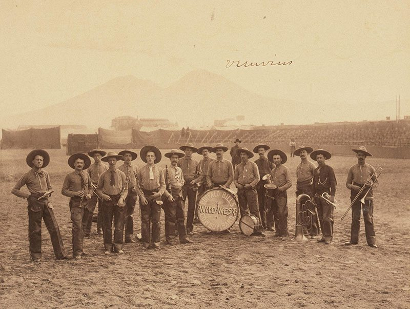 Buffalo Bill's Wild West Cowboy Band in Italy with Mt. Vesuvius in background, ca. 1890. MS6 William F. Cody Collection. P.69.989