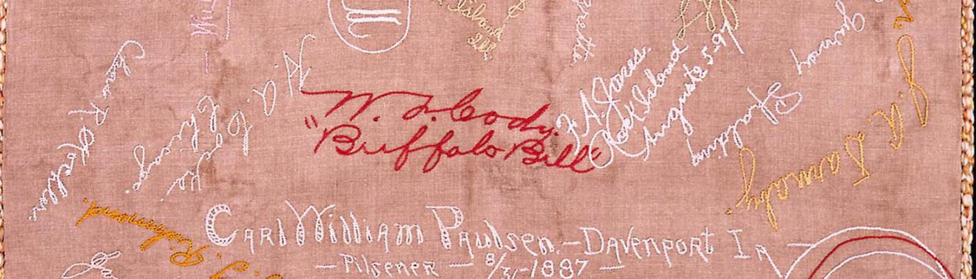 Pillow cover embroidered by Annie Oakley. 1.69.2120