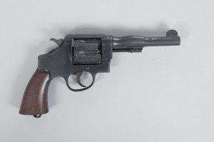 Smith & Wesson Model 1917 Revolver with barrel blown up. 1987.2.15