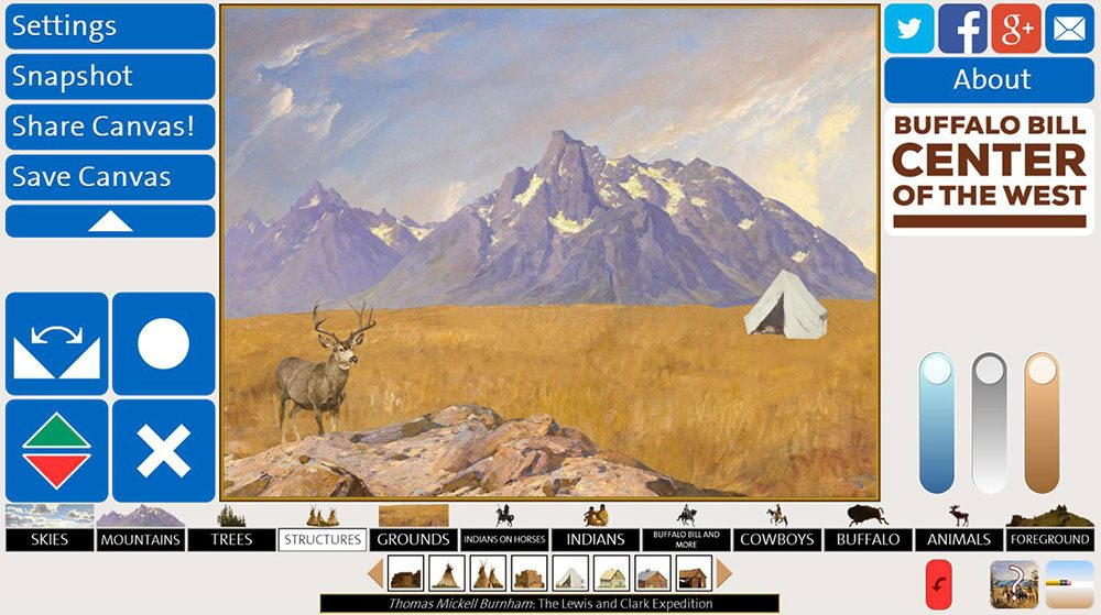 "A screen shot of ""History Canvas,"" a new online interactive from the Buffalo Bill Center of the West"