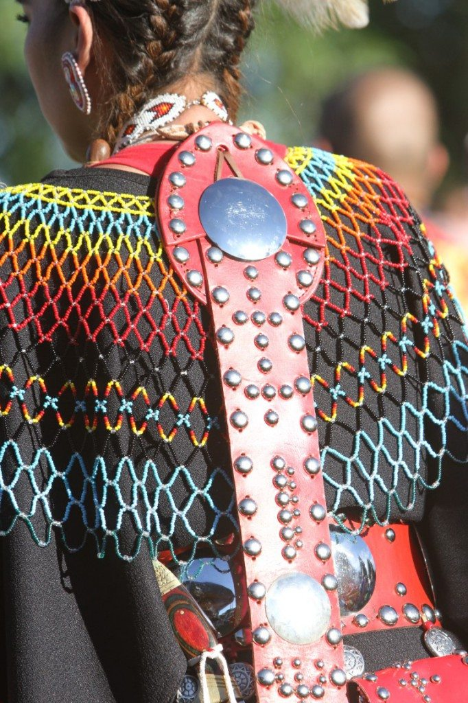 Powwow regalia is a wearable art form with many hours spent on beadwork and other details.