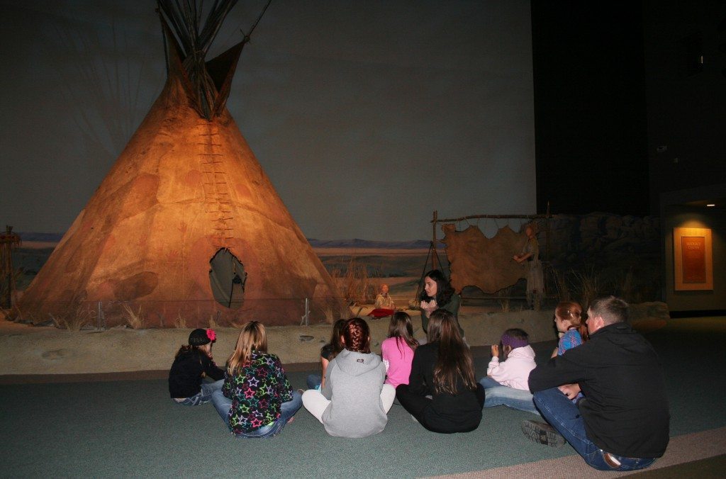 MILES students at hide tipi; Museum Experiences for Students