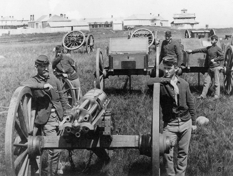 Gatling gun battery, Fort Lincoln, Dakota Territory, June 1877. P.21.41