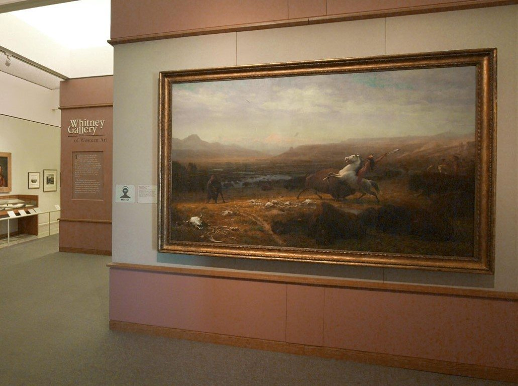 "The Whitney's old entrance. In our reinstallation, Albert Bierstadt's ""Last of the Buffalo"" is moved, but still prominent."