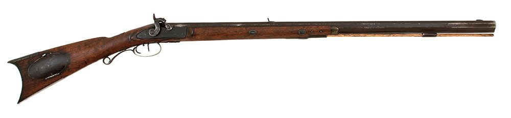 J & S Hawken half stock percussion rifle. Gift of William B. Ruger, Sr. and Sturm, Ruger and Company. 1997.4.2
