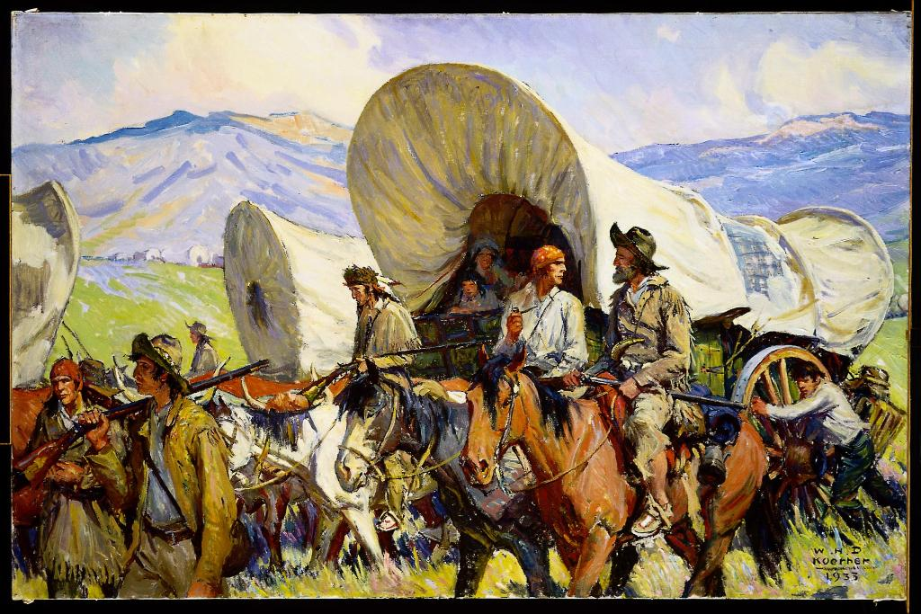"""One of W.H.D. Koerner's Oregon Trail paintings, """"Road to Oregon,"""" 1933"""