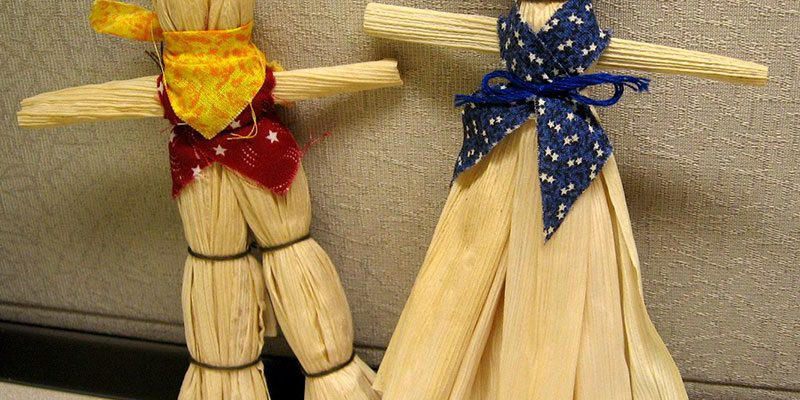 Participants in the Buffalo Bill Center of the West's November 18 Fallfest Family Fun Day can make corn husk dolls like these to take home.