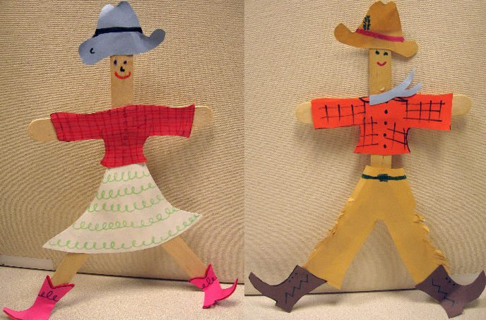 Art-in-the-Garden: popsicle stick cowgirls and cowboys