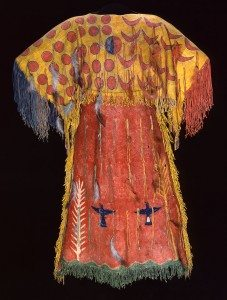 Ghost Dance dress, Southern Arapaho, c. 1890. Tanned elk hide with numerous pigments, feathers, and fringe. Chandler-Pohrt Collection. Gift of Mary J. and James R. Jundt. NA.204.4