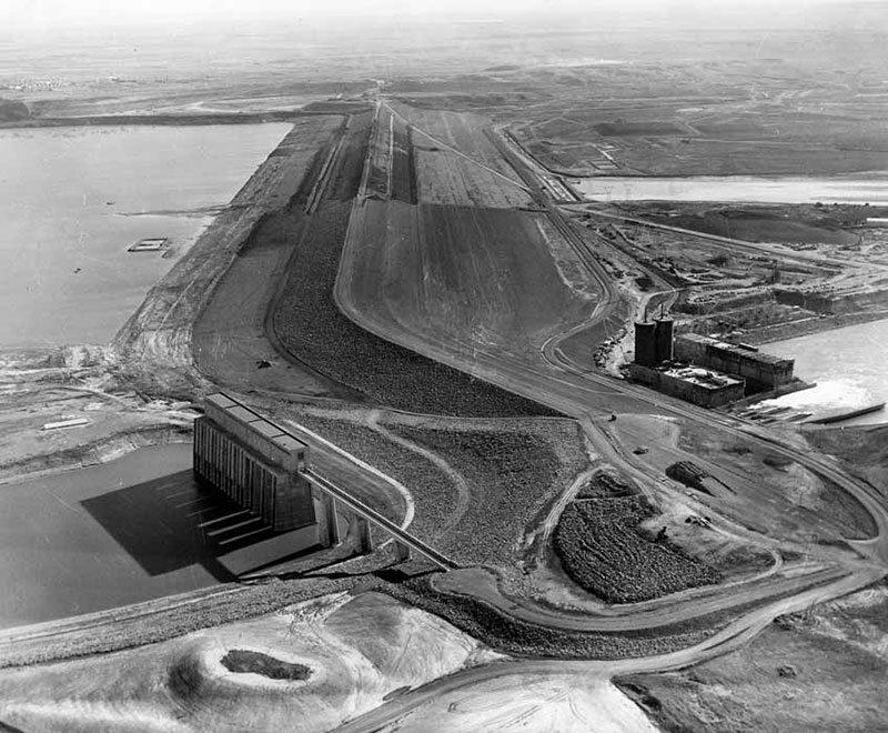 Aerial view of Garrison Dam Project, ca. 1950-1959. Image courtesy of Institute for Regional Studies, North Dakota State University, Fargo. Folio 69.1.1