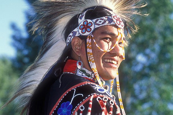 Adam Tsosie Nordwall, Shoshone-Chippewa-Navajo dancer from Fallon, Nevada. 2003 Plains Indian Museum Powwow.