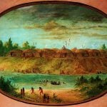 George Catlin (1796 – 1872). Minatarree Village, Minatarree, seven miles above the Mandan on the bank of the Knife River, ca. 1855 – 1870. Gift of Paul Mellon.