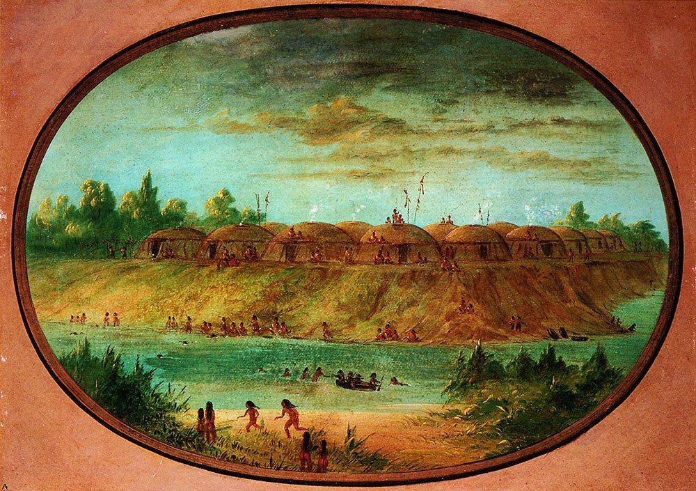 George Catlin (1796 – 1872). Minatarree Village, Minatarree, seven milesabove the Mandan on the bank of the Knife River,ca. 1855 – 1870.Gift of Paul Mellon.
