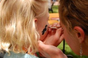 Close up of face painting.