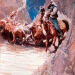 National Cowboy Day: N.C. Wyeth, Rounding Up - Little Rattlesnake Creek, 1904