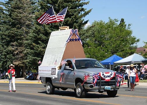 2014 Stampede Parade: Our entry's giant Declaration of Independence