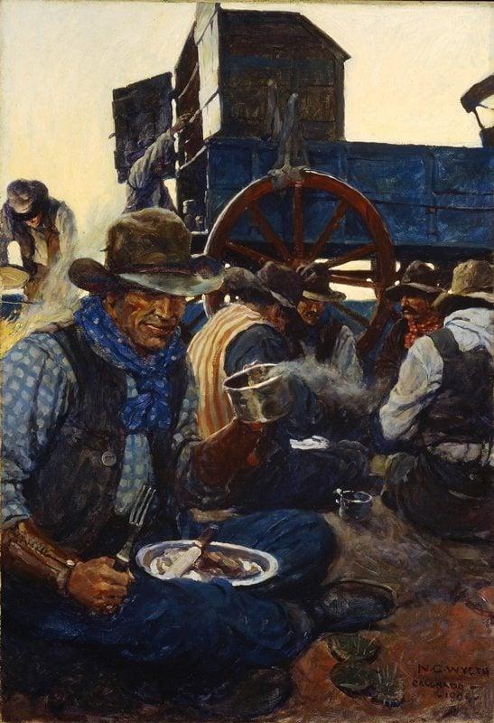 N.C. Wyeth: The Lee of the Grub-Wagon