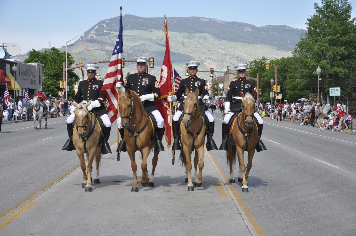 Marine Mounted Color Guard - July 4 Parade - Cody, WY