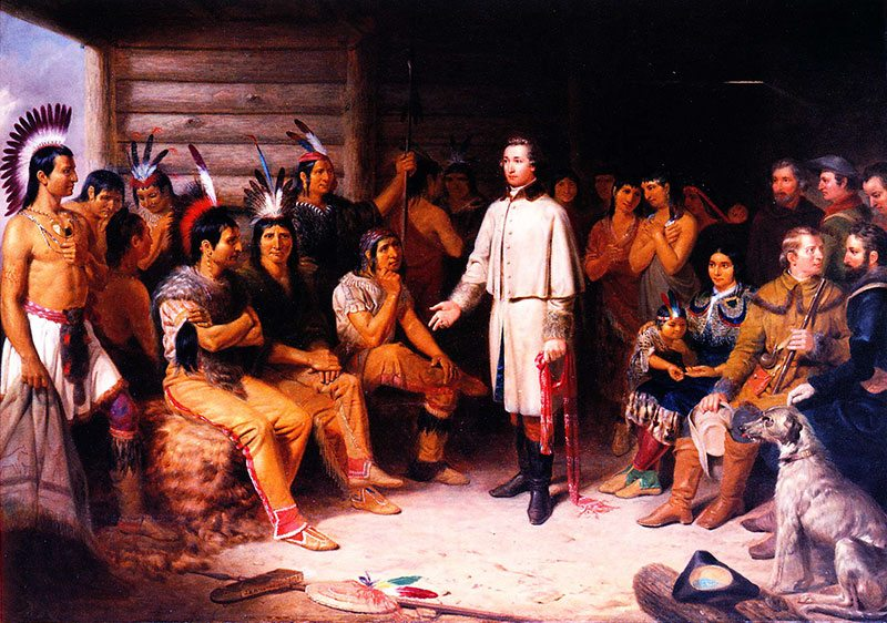 Junius Brutus Stearns (1810 – 1885). Washington and the Indians, 1847, oil on canvas, 36 x 50 inches. Loan from Mr. and Mrs. W.D. Weiss. [now returned to lender; L.77.86.2]. Image Courtesy of the Buffalo Bill Center of the West.