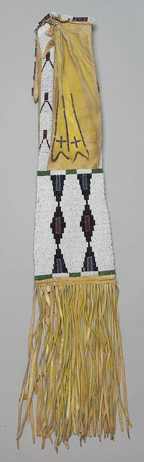 Pipe Bag. Tsistsistas (Cheyenne), Montana, ca. 1890. Tanned deer hide, pigment, seed beads. Adolf Spohr Collection, Gift of Larry Sheerin. NA.504.107