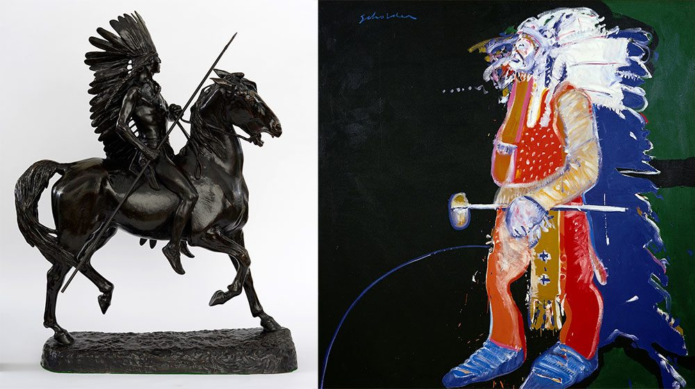 """One stop on the Whitney Western Art Museum's free audio tour compares and contrasts these two depictions of American Indians. Artwork credits: Alexander Phimister Proctor's """"Indian Warrior,"""" 1898, Gift of A. Phimister Proctor Museum with special thanks to Sandy and Sally Church, 4.08.2; and Fritz Scholder's """"Indian With Tomahawk,"""" 1970, William E. Weiss Contemporary Art Fund, 15.77"""