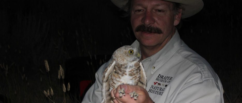 Dr. Preston with a burrowing owl