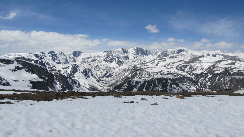Early Summer Snowy Mountains near Cody, Wyoming