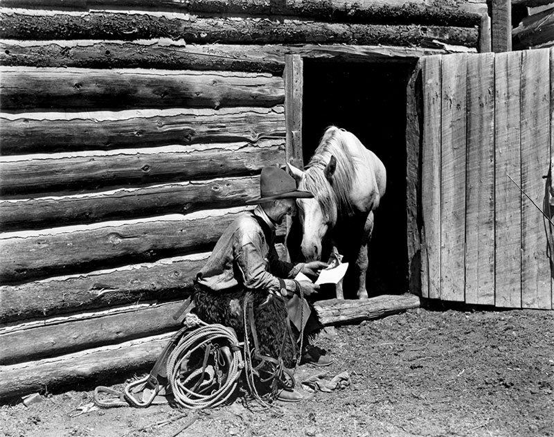 Treasures Charles Belden Photograph Cowboy Reading To Horse