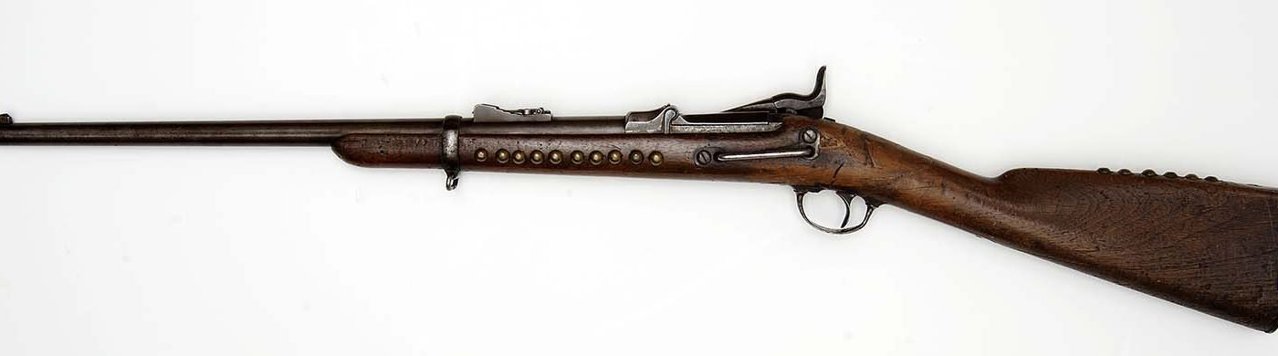 """U.S. Springfield Model 1873 """"Trapdoor"""" Carbine. The Paul Dyck Plains Indian Buffalo Culture Collection, acquired through the generosity of the Dyck family and additional gifts of the Nielson Family and the Estate of Margaret S. Coe. 2007.14.26"""