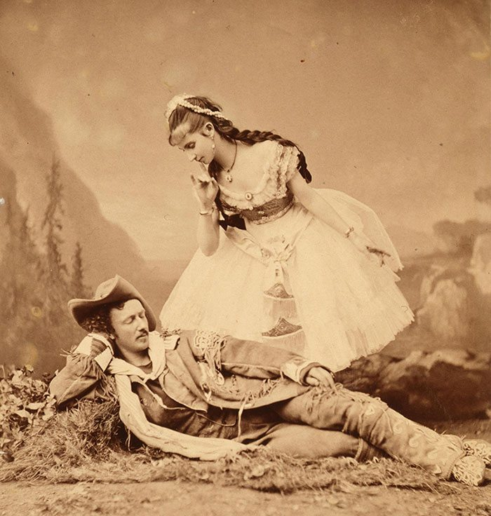 "Texas Jack Omohundro—pictured here with French Dancer Mlle. Morlacchi in ""Scouts of the Prairie"" stage play, ca. 1875—and Buffalo Bill thrilled audiences with their wild shooting and simulated knife-fighting. Original Buffalo Bill Museum Collection. Purchased from Fred H. Garlow, Jr., William Joseph Garlow, and Mrs. Jane Cody Garlow Mallehan, grandchildren of Buffalo Bill. P.69.24"