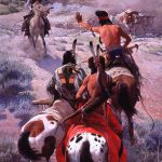 "John Clymer (1907 – 1989). ""The Cattle Drive,"" 1969 – 1970. Oil on canvas, 120 ¼ x 60 ¼ in. Gift of Winchester-Western Division, Olin Corporation. 26.70"