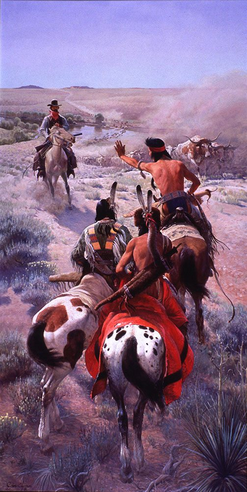 """John Clymer (1907 – 1989).""""The Cattle Drive,"""" 1969 – 1970. Oil on canvas, 120 ¼ x 60 ¼ in. Gift of Winchester-Western Division, Olin Corporation. 26.70"""