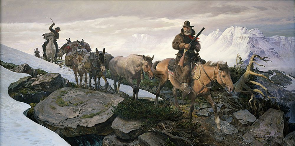 """John Clymer (1907 – 1989). """"The Gold Train,"""" 1969 – 1970. Oil on canvas, 60 x 120 in. Gift of Winchester-Western Division, Olin Corporation. 27.70"""