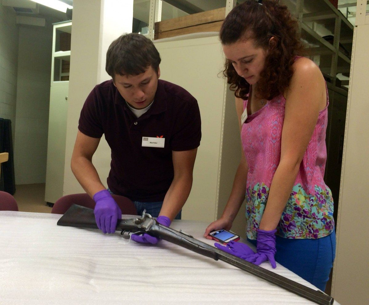 Ruby Harrington (author and CFM intern) and Max Yeley (another Center intern) working in the vault.