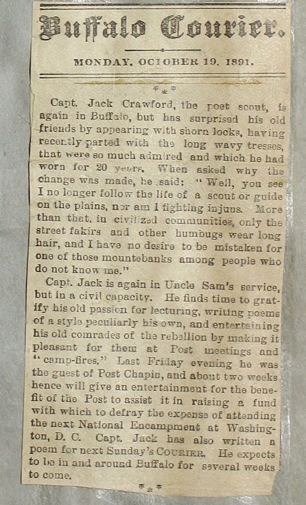 Clipping of Capt. Jack Crawford from Center of the West collection - typical fodder for scrapbooks.