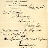 Among the items in the collection are letters and shipping orders from Schuyler, Hartley and Graham to H. K. White, correspondence from H. K. White Military Goods to customers, correspondence from individuals and companies seeking to purchase goods from Schuyler, Hartley and Graham and H. K. White Military Goods, correspondence from individuals and companies offering goods and services, business records such as bills, receipts, calling cards, etc., bound memo books, ledger books, inventory books, etc., and a large collection of advertisement materials. Supported by funding from the American Society of Arms Collectors.