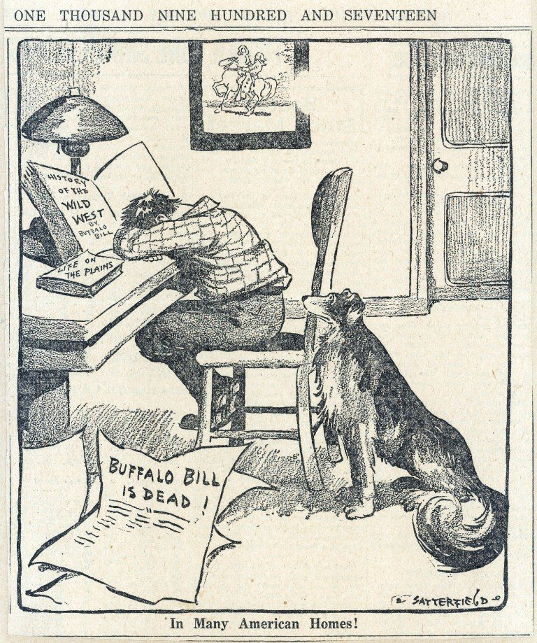 In scrapbooks everywhere, this cartoon mourns the death of Buffalo Bill.