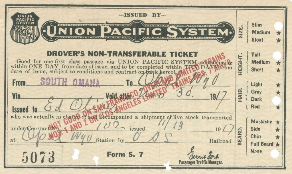 1917 Union Pacific passenger ticket--scrapbooks' ideal content